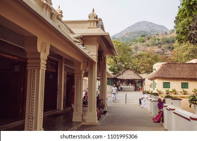 Arunachala, Tiruvannamalai, Tamil Nadu in India, January 24, 2018: Sri Ramana Maharshi Ashram