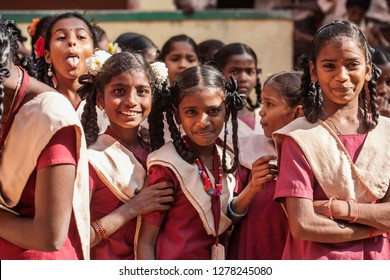 Arunachala, Tiruvannamalai, Tamil Nadu in India, January 30, 2018: Student girls in public school