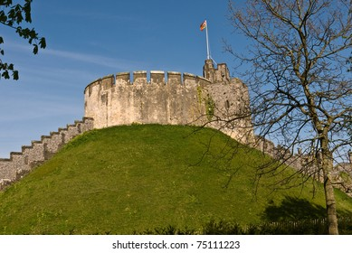 Arundel castle in Sussex, showing the Motte and Keep established in 1068 by the Earl of Arundel.