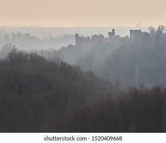 Arundel Castle through the morning mist.