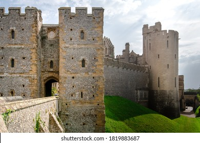 Arundel Castle, West Sussex. Summer 2020 shot on a cloudy sunny day. Large medieval fortress in the South of England