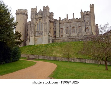 Arundel, England - March 29, 2015: Outside view from the garden on Arundel castle, England