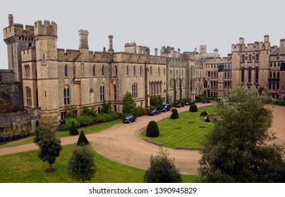 Arundel, England - March 29, 2015: Inner court of Arundel castle, England