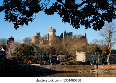 Arundel, Sussex, England, March 2019. Arundel medieval castle is home to the Duke of Norfolk family. The castle was originally built in the 11th century and restored in the 18th and 19th centuries.