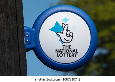 ARUNDEL, UK - May 5th 2018: Close-up of The National lottery Sign, on display outside a newsagents in the town of Arundel in West Sussex, on 5th May 2018.