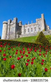 ARUNDEL, UK - MAY 5TH 2018: A view of the magnificent Arundel Castle, located in the historic market town of Arundel in West Sussex, UK, on 5th May 2018.