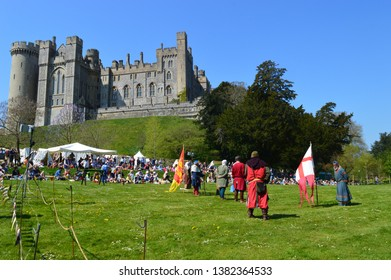ARUNDEL, UNITED KINGDOM - APRIL 20, 2019: Medieval knights at Arundel Castle demonstrate combat and costumes
