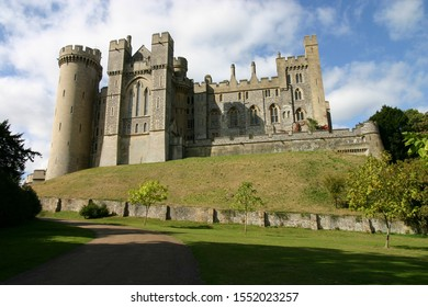 Arundel, West Sussex, England, UK - June 01, 2015: Looking up towards Arundel Castle on a sunny day