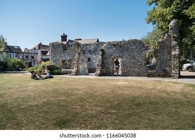 ARUNDEL, WEST SUSSEX, UK, 5TH AUGUST 2018 - The ruin of 13C Blackfriars in the market town of Arundel, West Sussex, UK