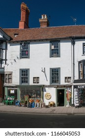 ARUNDEL, WEST SUSSEX, UK, 5TH AUGUST 2018 - An ancient shop front in the market town of Arundel, West Sussex, UK