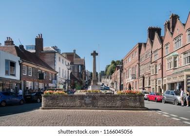 ARUNDEL, WEST SUSSEX, UK, 5TH AUGUST 2018 - Arundel war memorial and High Street, West Sussex, UK