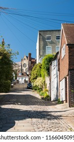 ARUNDEL, WEST SUSSEX, UK, 5TH AUGUST 2018 - Cobbled street in the town of Arundel, West Sussex, UK