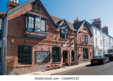 ARUNDEL, WEST SUSSEX, UK, 5TH AUGUST 2018 - Public house in the ancient town of Arundel, West Sussex, UK