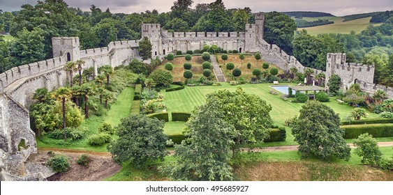Arundel, West Sussex, UK: August 2016 - Arundel Castle and grounds are maintained at a very high standard for the Duke and Duchess of Norfolk