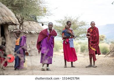 Arusha, Tanzania, 10th September 2019:  maasai family in their home boma (village)