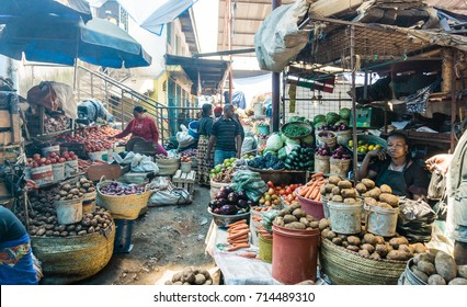 ARUSHA, TANZANIA - AUGUST 16, 2017: people at the central market of Arusha