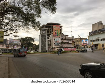 ARUSHA, TANZANIA - AUGUST 16, 2017: Arusha clock tower located in center of the city. Currently, the Arusha Clock Tower marks the exact midpoint between Cairo and Cape Town,