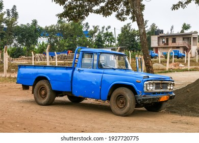 Arusha, Tanzania - February 6, 2021: Old blue pickup truck Toyota Stout in the city street.
