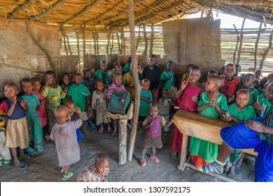Arusha, Tanzania - Jan 23, 2019 - Masai Tribe children at their pre school class