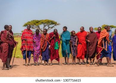 Arusha, Tanzania - Jan 24, 2019 - Masai men performing a traditional dance