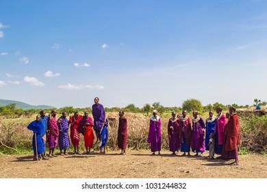 Arusha, Tanzania -January 24, 2018 - Traditional Masai dance performed for tourists near Arusha, Tanzania.