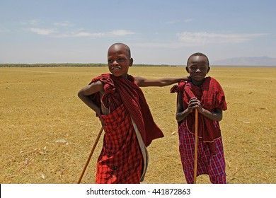 ARUSHA, TANZANIA - SEPTEMBER 8TH, 2016: Two Masai children, dressed in a traditional red robe, herding the cattle near Arusha, Tanzania. An illustrative editorial image.