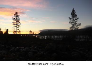 ARVIDSJAUR / SWEDEN - NOVEMBER 16 2018: The morning autumn view at the lake in Sweden
