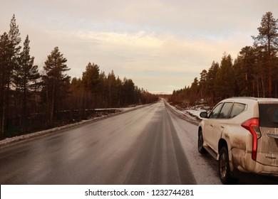 ARVIDSJAUR / SWEDEN - NOVEMBER 16 2018: The auto travels in Northern Sweden