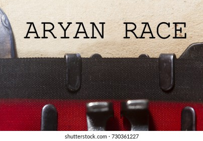 Aryan race concept-   typed on an old vintage paper with od typewriter font.