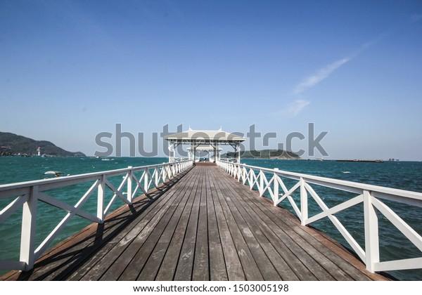 Asadang Bridge or wooden Bridge of Koh Si Chang Island Popular tourist destination in Chonburi Province, Thailand.