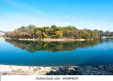 Asahi River and Korakuen Garden,Okayama Japan.
