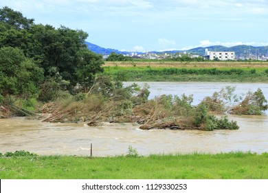Asahi river in Okayam city,Okayama prefecture, Japan,2018,07,08: after flood