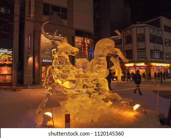 Asahikawa, Japan- February 10,2017 :Beautiful Ice sculptures  Asahikawa winter festival 2017 at Asahikawa , Hokkaido,Japan.