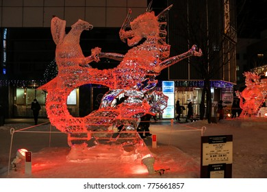 Asahikawa, Japan- February 10,2017 :Ice sculptures  Asahikawa winter festival 2017 at Asahikawa , Hokkaido,Japan.