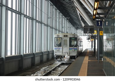 Asahikawa, Japan - January 2, 2018: Hokkaido local train that traveling between Asahikawa city and Biei city.