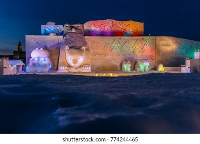 Asahikawa, Japan-February 11,2017: Snow sculptures with colorful lights by night  in snow festival 2017 at winter ,Asahikawa,Hokkaido, Japan.