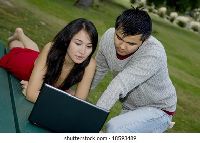 Asain couple studing using a computer at a park