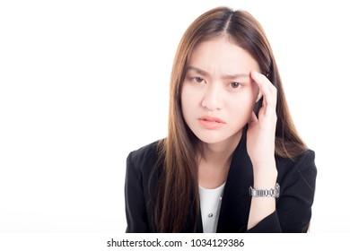 asain woman officer feel serious and moody , headache, pain in head