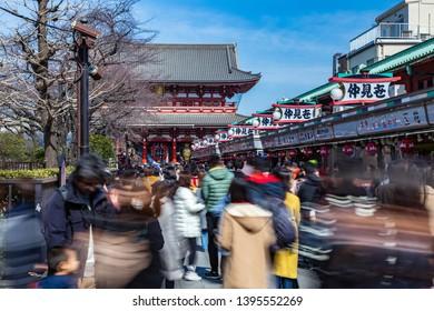 ASAKUSA, JAPAN - 24 April 2019 - Tourists and local Japanese visit famose Asakusa temple in Asakusa, Japan on April 24, 2019