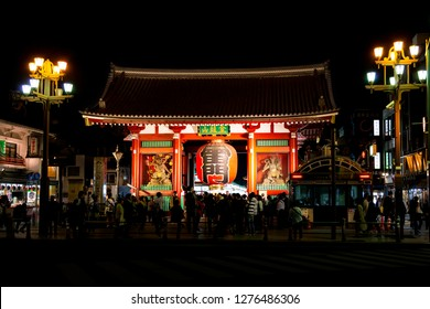 Asakusa, Taito, Tokyo, Japan-October 24, 2018: Sensoji, Kaminari-mon: Kaminari gate is a entrance of Sensoji.