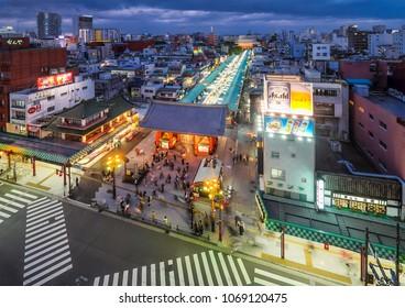 ASAKUSA TEMPLE, JAPAN - APRIL 8: Asakusa Temple on April 8, 2018 in Tokyo, Japan. Asakusa Temple is one of the main tourist attraction. With over 3 million people visit Asakusa Temple each year.