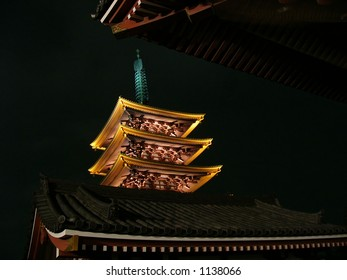 Asakusa temple night view over the roofs, Tokyo Japan