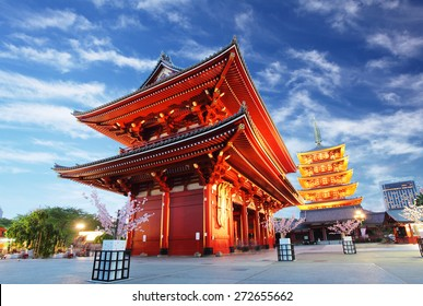 Asakusa temple with pagoda at night, Tokyo, Japan