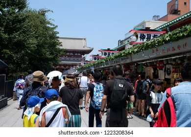Asakusa temple,Tokyo Japan July,15 2018 There are many tourists in asakusa temple