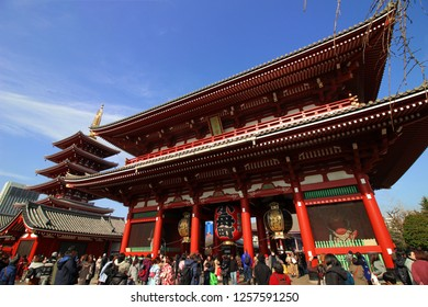 "Asakusa in Tokyo, Japan 01/21/2018 The temple gate bustling with New Year's worship Japanese tourist spots The gate named ""Hōzōmon"" of Asakusa Sensoji Temple"