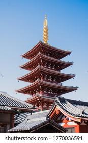 Asakusa, Tokyo / Japan - December 1, 2018: Asakusa Shrine's Pagoda