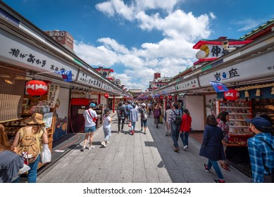 Asakusa, Tokyo, Japan - June 19, 2018 - People around shopping street at Nakamise is connect to Sensoji Temple in Asakusa, Tokyo, Japan.