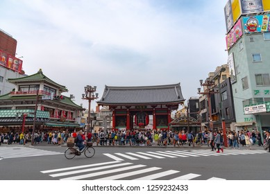 Asakusa, Tokyo, Japan - March 28, 2018 : Sensoji temple at Asakusa.The Sensoji temple in Asakusa area is the oldest temple in Tokyo.