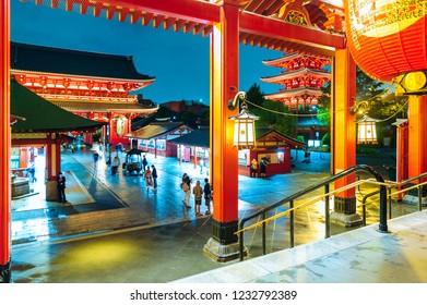 Asakusa , Tokyo - JUNE 11, 2018 : Sensoji Temple. Located in Asakusa district at night.