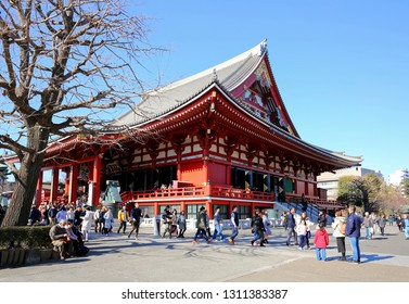 ASAKUSA, TOYKO, JAPAN - JANUARY:  Locals and tourist visit the Sensō-ji  Temple also known as the Asakusa Kannon Temple the oldest and most significant temple in Japan, as seen on January 18, 2019.